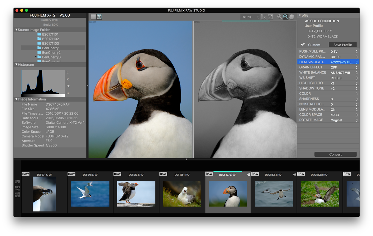 FUJIFILM X RAW STUDIO software, image-editing software
