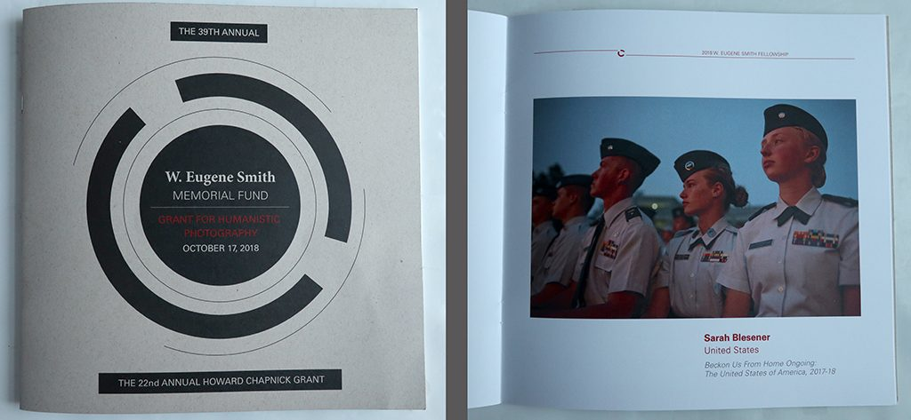 Cover (left) and page featuring Sarah Blesener, winner of the fund's 2018 fellowship grant, (right), from the brochure for the 39th Annual W. Eugene Smith Memorial Fund: Grant for Humanistic Photography, on October 17, 2018.