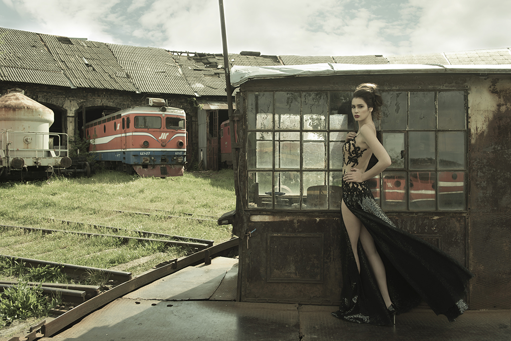 Fashion shoot with designer Zvonko Markovic's clothing in an abandoned railway station in Novi Sad, Serbia, for FGC magazine.