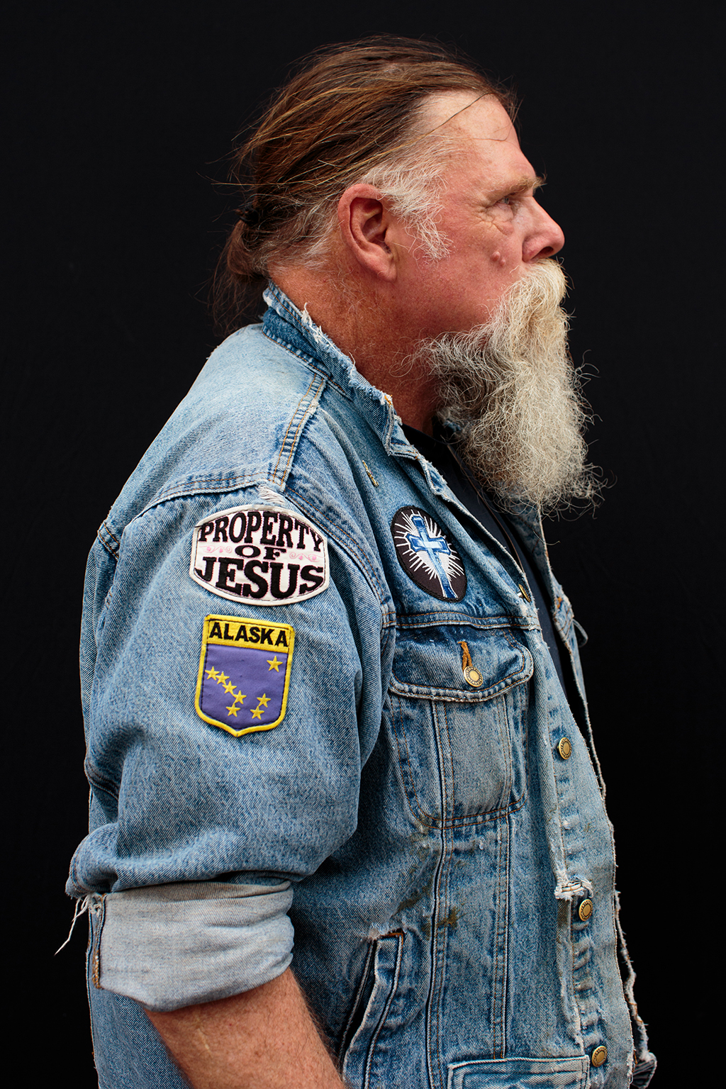 Greg Mathes, July 17, 2016, poses for a portrait before the start of the Republican National Convention in Cleveland. Mathes is from Anchorage, Alaska, and is at the RNC to promote his religion: Jesus and politics.