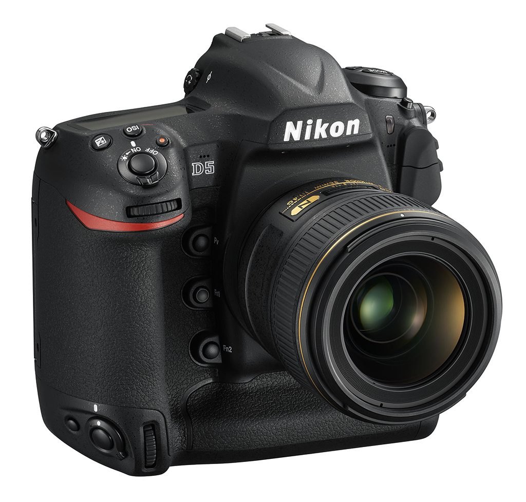 The Nikon D5 full-frame DSLR with a 35mm prime lens.