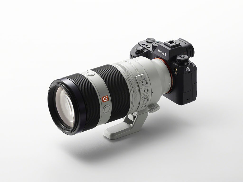 Sony's a9 full-frame mirrorless camera with the 100-400mm zoom lens.