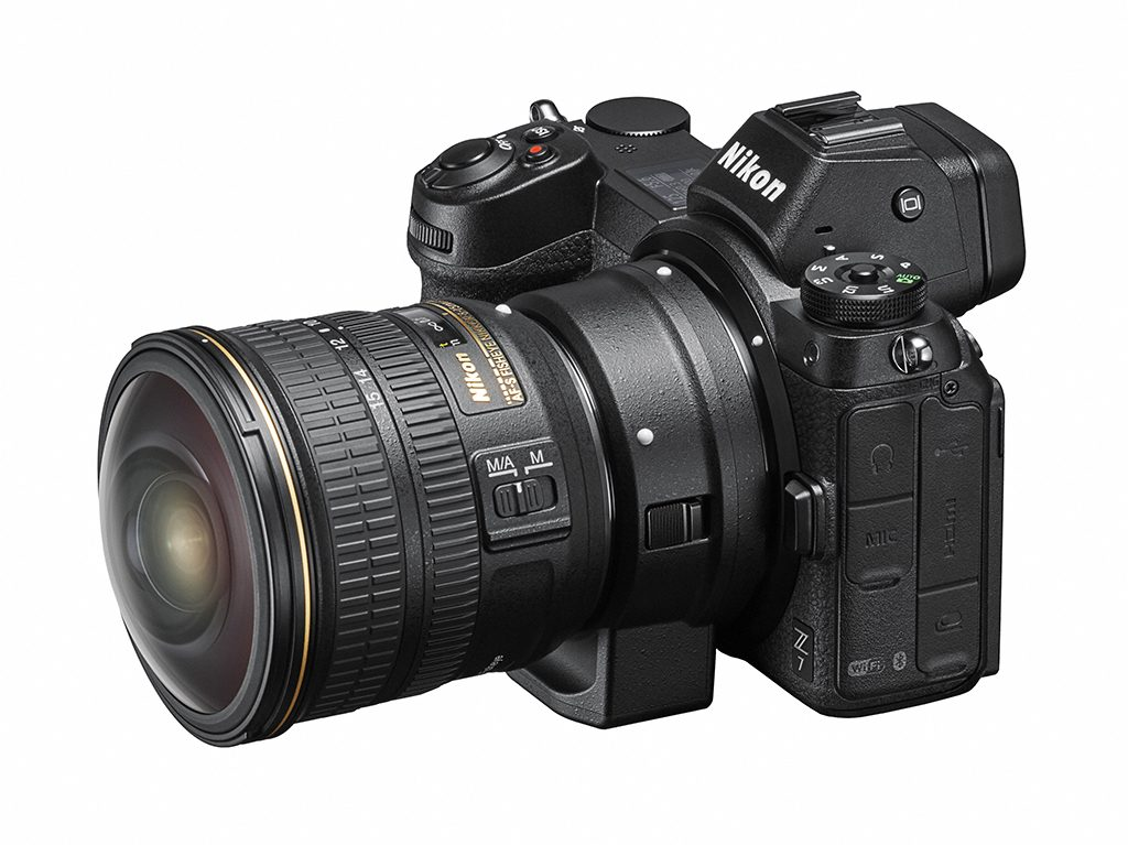 Nikon Z 7 full-frame mirrorless camera with NIKKOR Fisheye 8-15mm zoom lens and adapter.