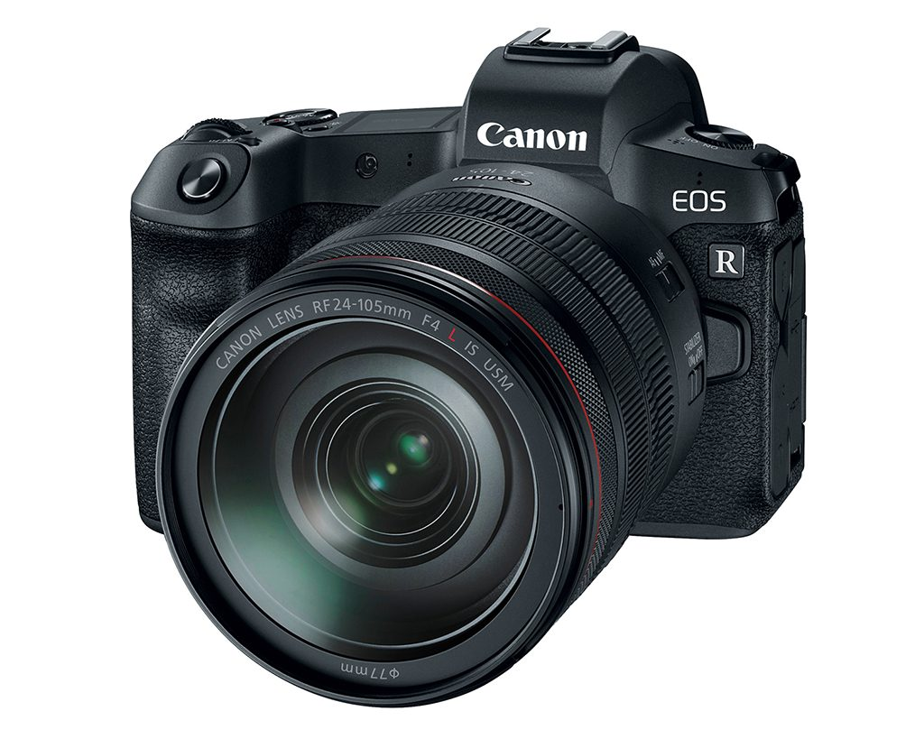 Canon's EOS R full-frame mirrorless camera with a 24-105mm zoom lens.