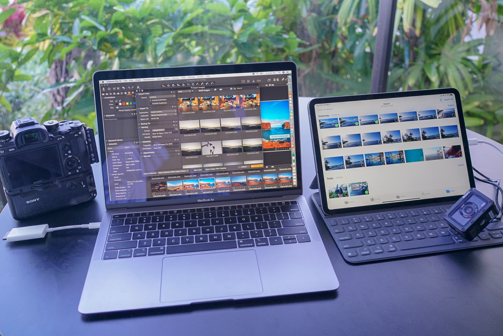 Lightweight travel with the MacBook Air and ultra lightweight with the iPad and RXO.