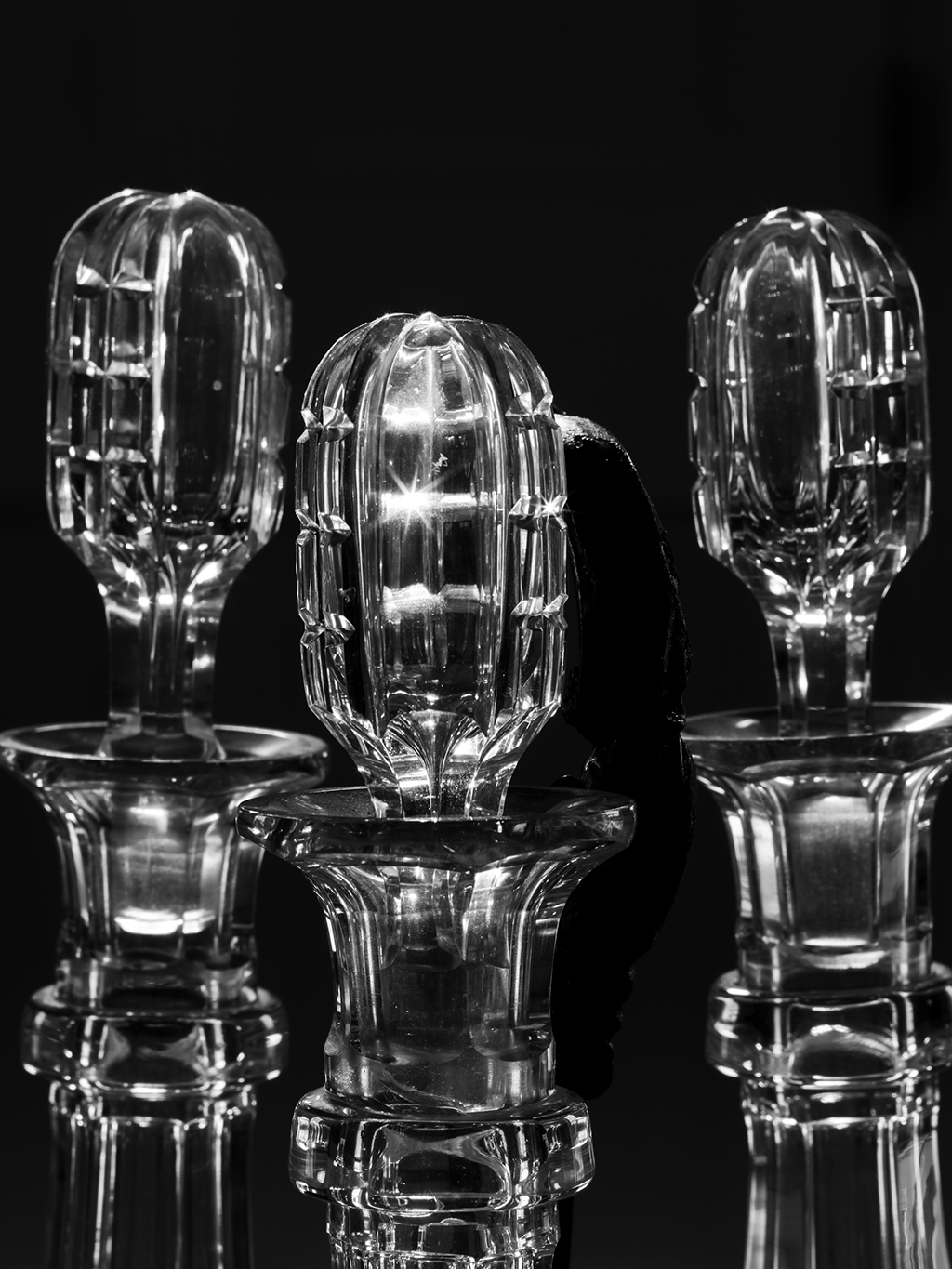 "Crystal Stoppers, Knox Museum, Thomaston, Maine: ""As part of a workshop through the Maine Media Workshops,"" says Crane, ""our class visited the Knox Museum. The late-afternoon light coming in through the transom above the door and lighting these beautiful crystal stoppers made me stop and make a series of photographs. I think it will be a stunning platinum print."""