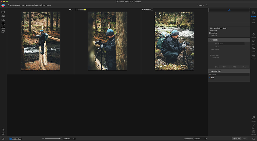 The Browse module in ON1 Photo RAW 2019 allows me to manage and review all of the photos in my library. I can rate them using stars, colors or like/reject and am able to filter by that metadata, as well.
