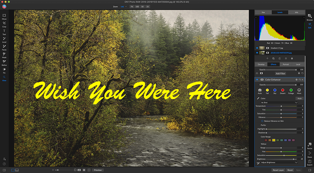 With the new Text Tool in ON1 Photo RAW 2019, I can easily add and stylize a message atop a photo.