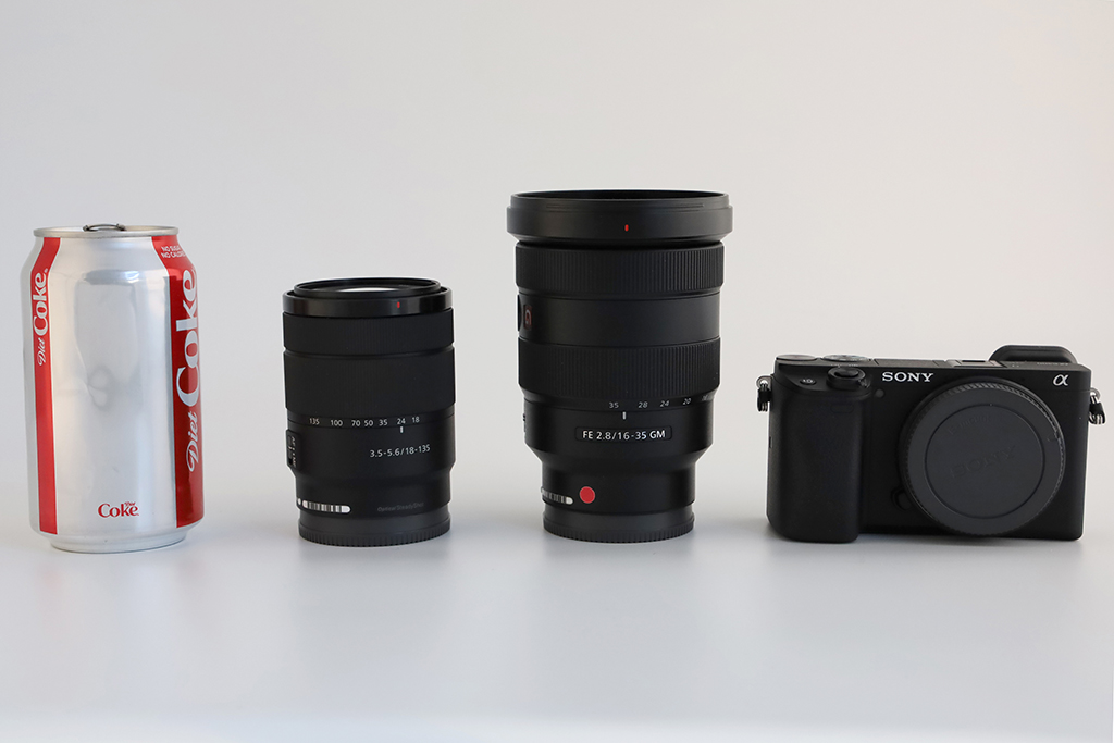 In this image, the new Sony a6400 (far right) is shown next to Sony's E18- 135mm F3.5-5.6 OSS kit lens, which costs $599 when bought separately (second from left) and Sony's FE 16-35mm F2.8 GM, $2,199 (second from right).