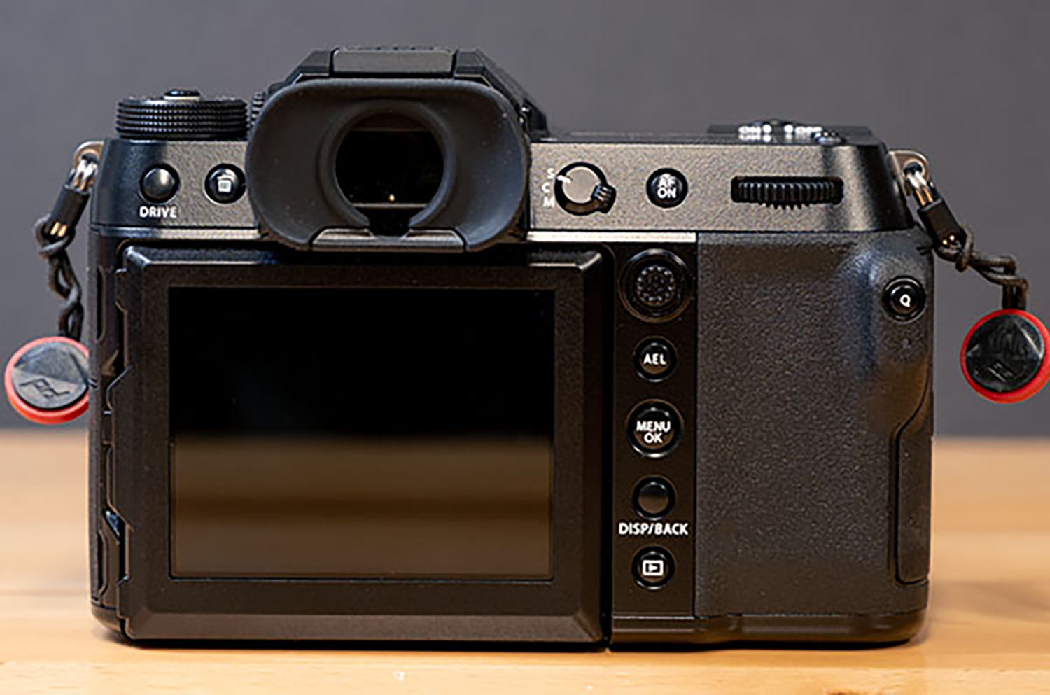 Hands-on photo of back of Fujifilm GFX100S
