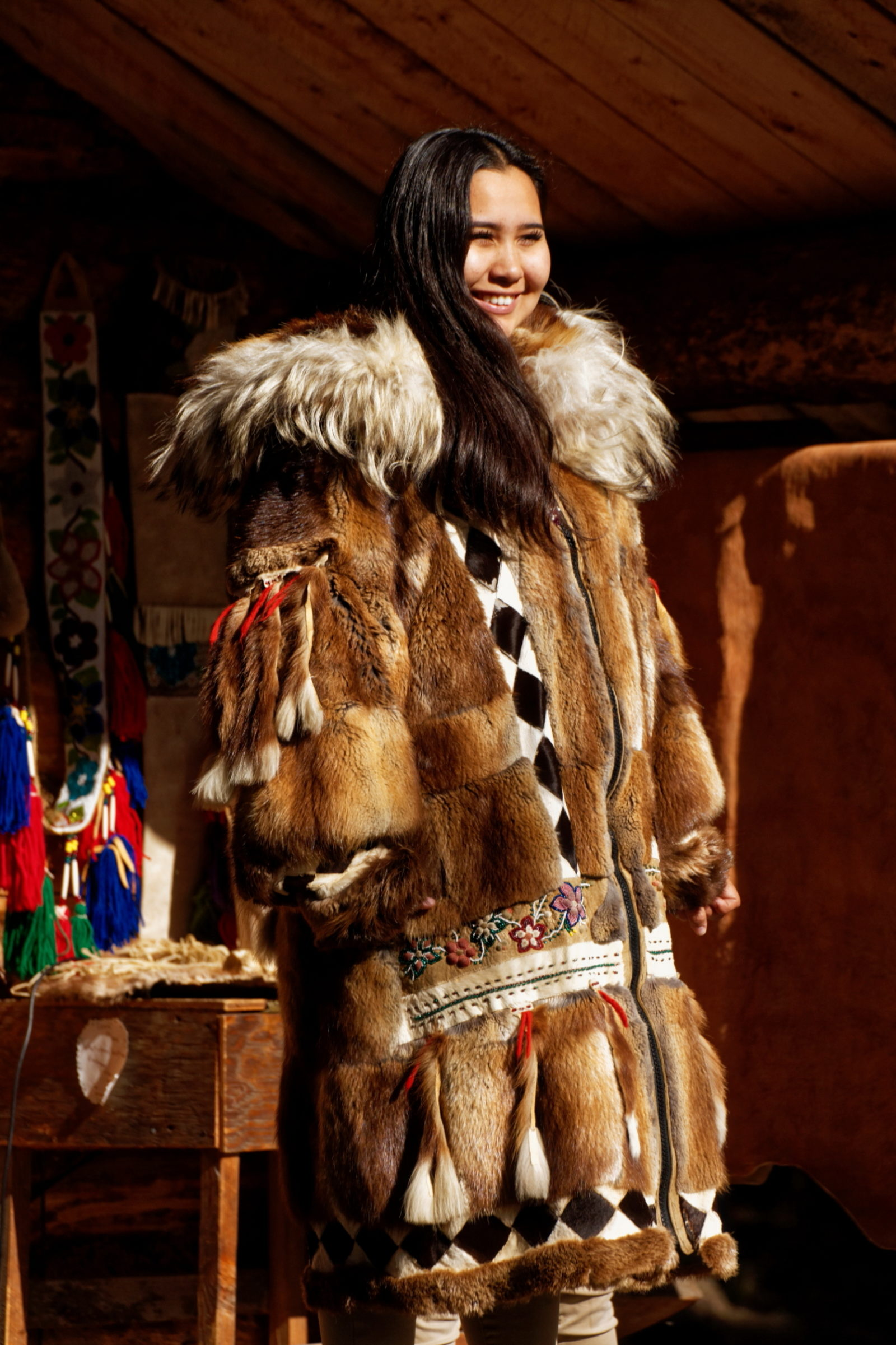 Inupiaq Princess in Winter Celebration Overcoat