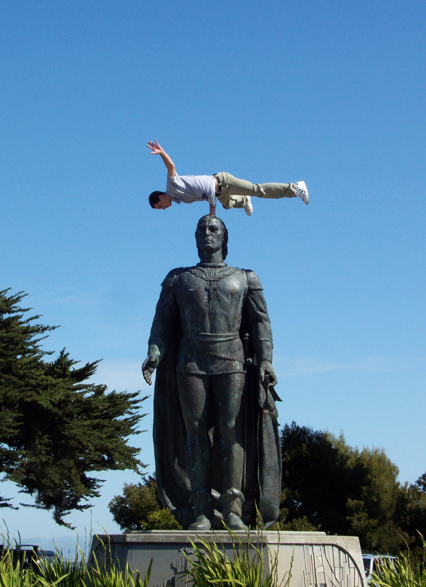 Balancing on Christopher's Statue