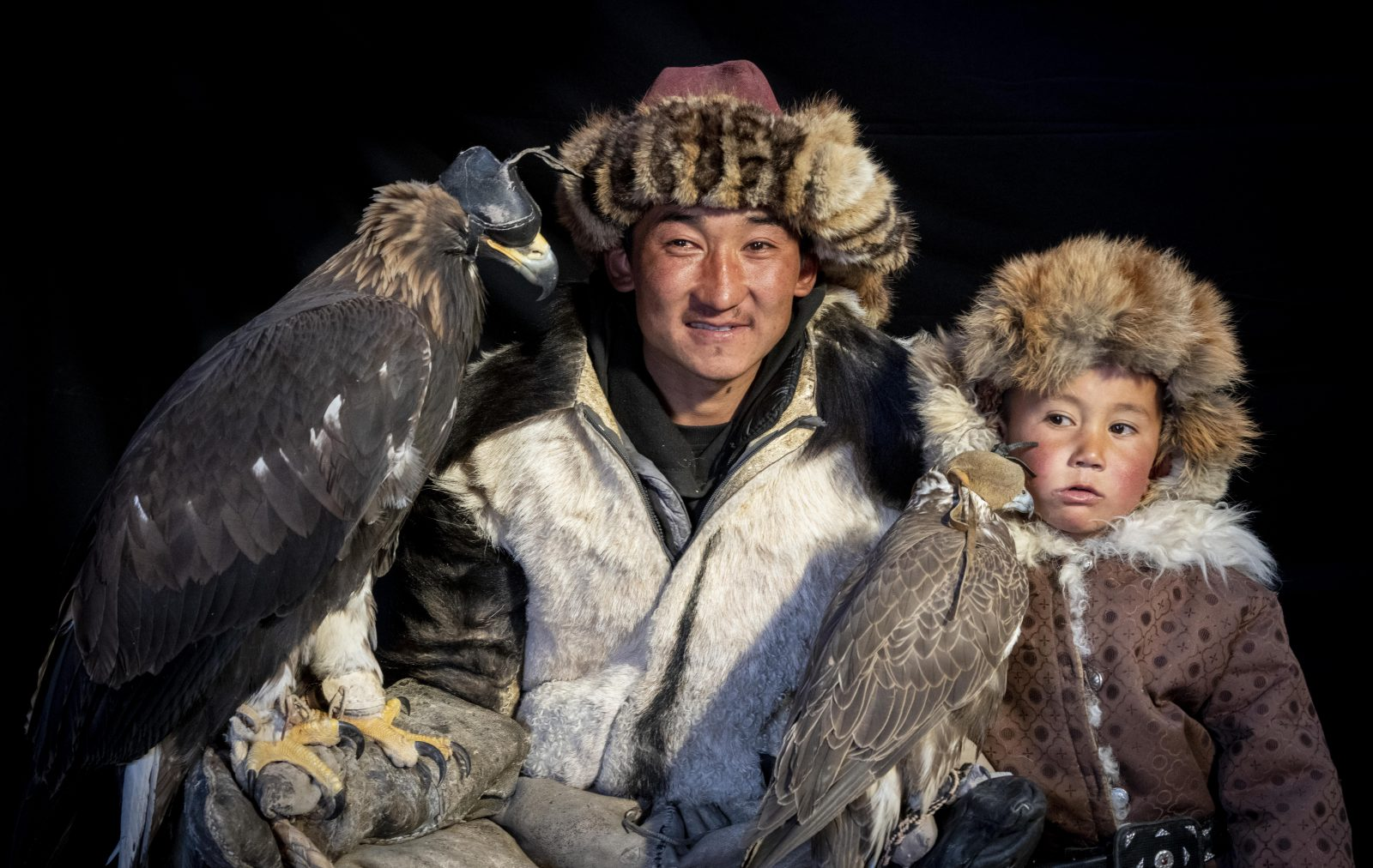 Eagle hunter and son