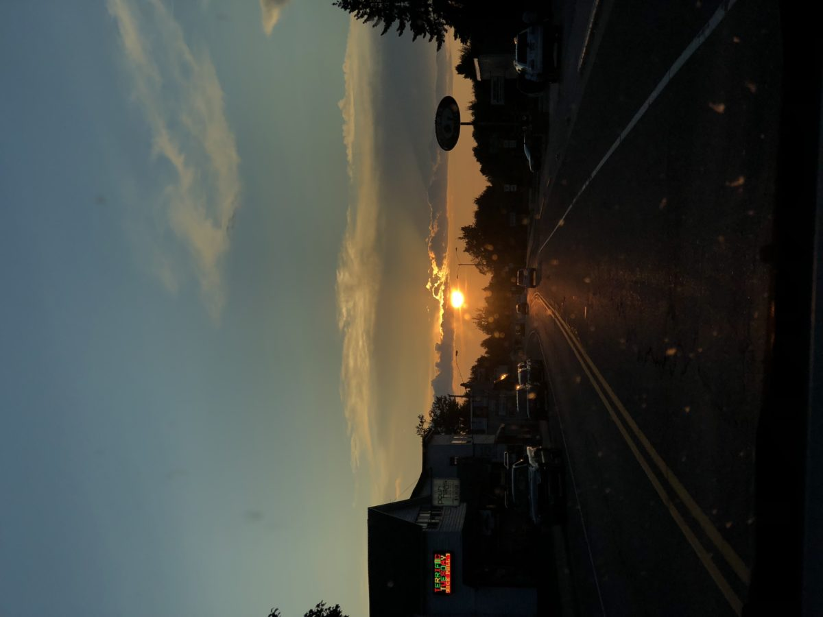 Sunset in town
